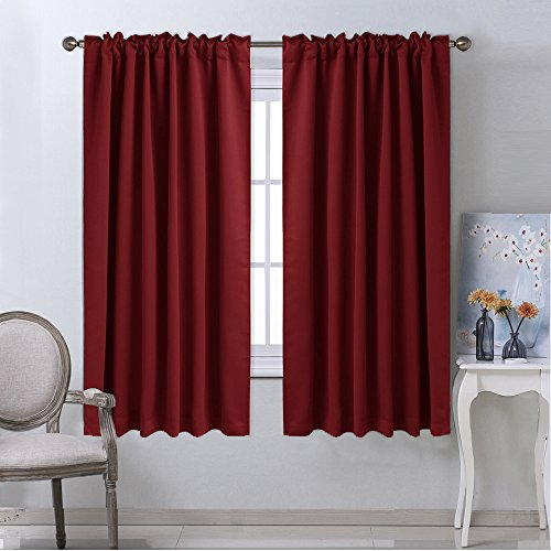Burgundy Bedroom Blackout Draperies Panels - (Burgundy Red Color) 52