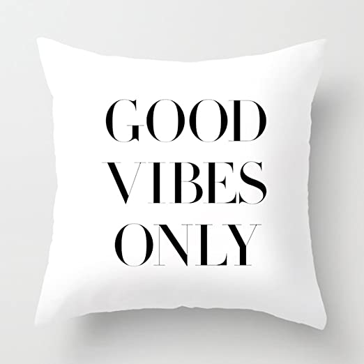 Good Vibes Black Ink Pillowcase Home Life Cotton Cushion Case 18 x 18 inches