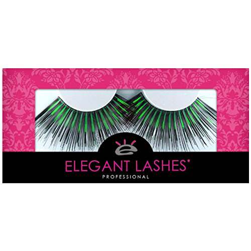 Elegant Lashes C847 Premium Color Drag Queen False Eyelashes (Oversized Giant Black Eyelashes with Green Metallic Mix) Halloween Dance Rave Costume]()