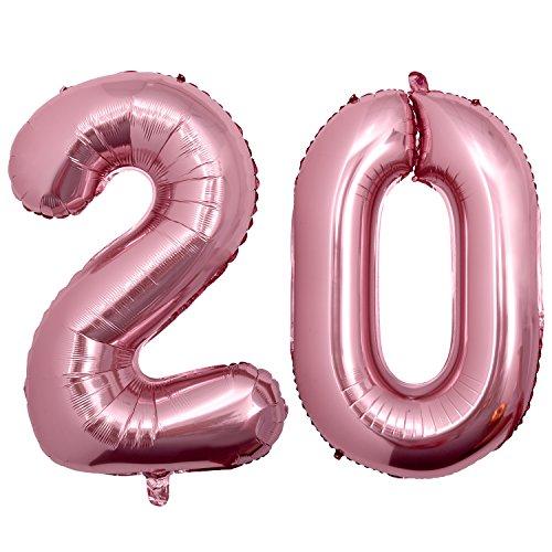 Meersee Globo 20 Oro rosa, 40 pulgada Globo Balón de Helio Gigantes Decoración del Globo del Cumpleaños Numero 20