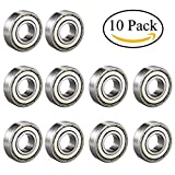#9: ipccam 10 Pack 6001ZZ Deep Groove Ball Bearing, Precision Bearings 12mm X 28mm X 8mm, Double Shielded Metal Seal, Suitable for Linear Motion, Wheels, Skateboard, High Speed & Durable