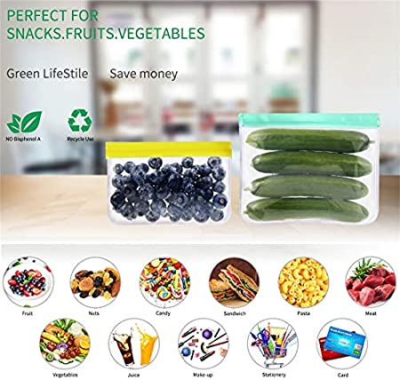 BEYAOBN Bolsas de Silicona Reutilizables 13 Pack,Bolsas de conservación,Bolsas Congelar Reutilizable,para Fruta Verduras Carne y sándwich, Ideal para Hogar Cocina y Viajes, Sin BPA