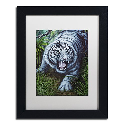 White Tiger by Jenny Newland White Matte Black Frame, 11 x 14