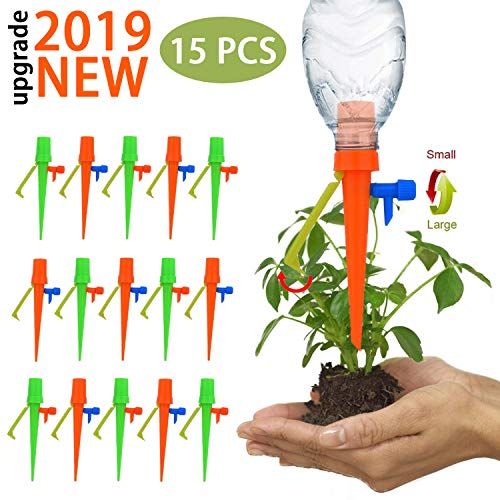 【Upgraded Version 】 15 Pcs Plant Watering Devices, Automatic Plant Waterer Self Watering Drip Irrigation Spikes Device with Slow Release Control Switch and Bracket Support for Outdoor Indoor (1)