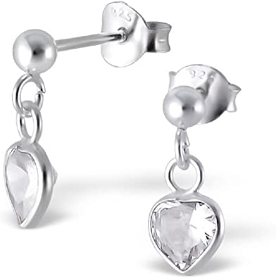 .925 Sterling Silver 9 MM Childrens Dolphin And Heart Post Studs Earrings
