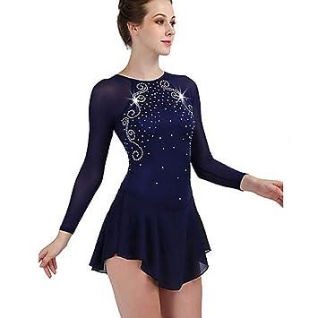 Vestido De Patinaje Artístico Mujer / Chica Patinaje Sobre Hielo Vestidos Azul Marino Oscuro Alta Elasticidad