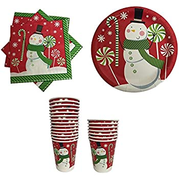 Christmas Paper Plates Napkins and Cups Red with Snowman  sc 1 st  Amazon.com & Amazon.com: Memberu0027s Mark Wonderland Frost Snowflake Party Pack ...