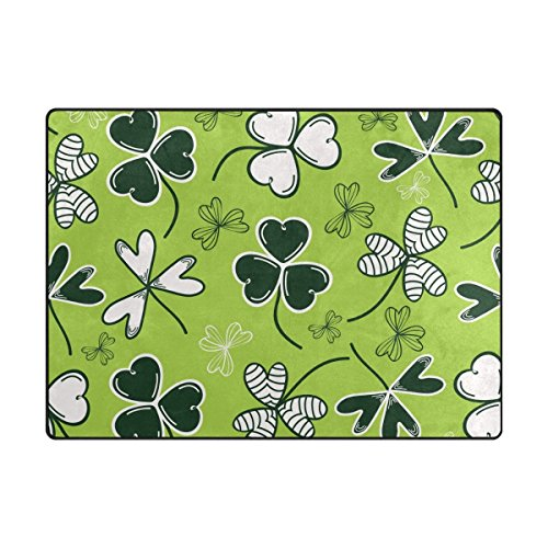 (TSWEETHOME Doormat Area Rugs Welcome Mats with Tile Weed Clover Leaf for Chair Mat Floor Mat (63 x 48 in & 80 x 58 in))