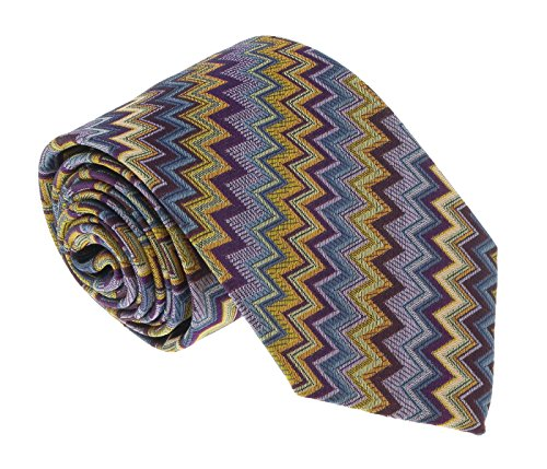 - Missoni U5728 Purple/Gold Chevron 100% Silk Tie for mens
