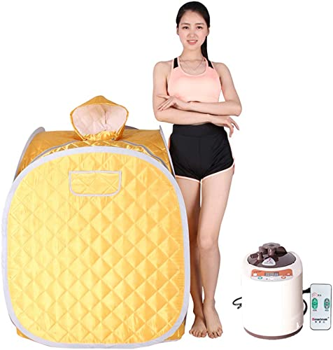 Smartmak Portable Steam Sauna, Health eco-Friendly 2L Steamer with Remote Control, One Person SPA at Home for Detox Weight Loss- Gold