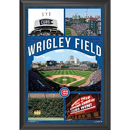 Baseball Team Pictures - Chicago Cubs Wrigley Field Wall Art Decor Framed Print | 24x36 Premium (Canvas/Painting Like) Textured Poster | MLB Baseball Sports Team Man Cave Fan Photo | Memorabilia Gifts for Guys & Girls Bedroom