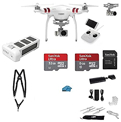 DJI Phantom 3 Standard Quadcopter Drone with 2.7K HD Video Camera EVERYTHING YOU NEED Kit + Gimbal Guard, Lens Cap, Harness + SanDisk 32GB SD Card with USB 3.0 Card Reader + More (Must Have Bundle) by DJI