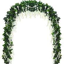 5 Strands 32.8 ft Artificial Silk Wisteria Vine Ratta Ivy Garland Wisteria Artificial Flowers Hanging Plants Vines Faux Greenery Fake Green Leaf Garland for Wedding Kitchen Home Party Decor (White)