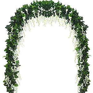 5 Strands 32.8 ft Artificial Silk Wisteria Vine Ratta Ivy Garland Wisteria Artificial Flowers Hanging Plants Vines Faux Greenery Fake Green Leaf Garland for Wedding Kitchen Home Party Decor (White) 1