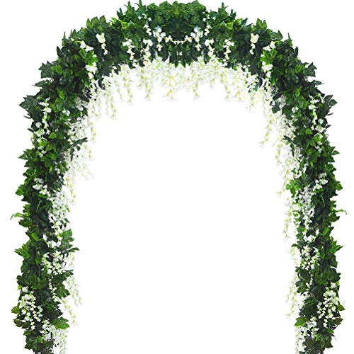 5 Strands 32.8 ft Artificial Silk Wisteria Vine Ratta Ivy Garland Wisteria Artificial Flowers Hanging Plants Vines Faux Greenery Fake Green Leaf Garland for Wedding Kitchen Home Party Decor -