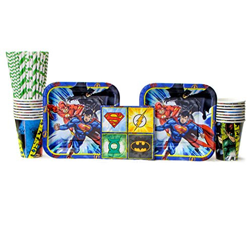 Cedar Crate Market DC Comics Justice League Superheros Birthday Party Supplies Pack Bundle for 16 Guests - Straws, Lunch Plates, Luncheon Napkins, and Cups -