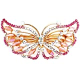 So Beauty Women's Exquisite Butterfly Shaped Rhinestone Hair Barrette Clip Accessary Pink