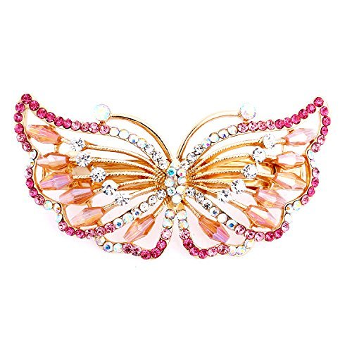 So Beauty Women's Exquisite Butterfly Shaped Rhinestone Hair Barrette Clip Accessary Pink - Elegant Butterfly Rhinestones