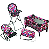 Mommy & Me 3 in 1 Doll Play Set 1 Doll Pack N Play. 2 Doll Bouncer 3.Doll High Chair. Fits 18'' Doll