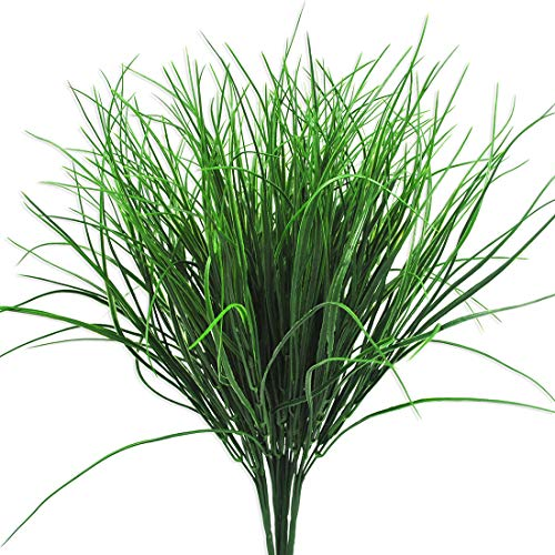 (4 Pcs Artificial Plants Outdoor Flowers Faux Plastic Wheat Grass UV Resistant Greenery Shrubs Bushes Potted Plant for Indoor Outside Planter Home Garden Office Wedding Party Decor (16.5
