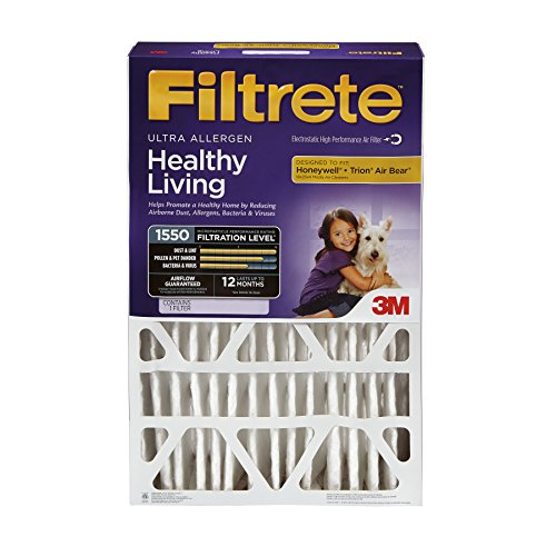 Filtrete MPR 1550 16 x 25 x 4 (4-3/8 Actual Depth) Healthy Living Ultra Allergen Deep Pleat HVAC Air Filter, 4-Pack by Filtrete
