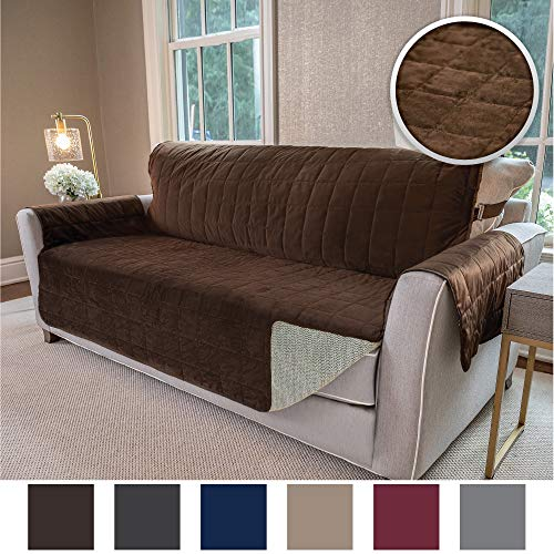 Gorilla Grip Original Velvet Slip Resistant Luxury Sofa Furniture Slipcover Protector, Seat Width Up to 70