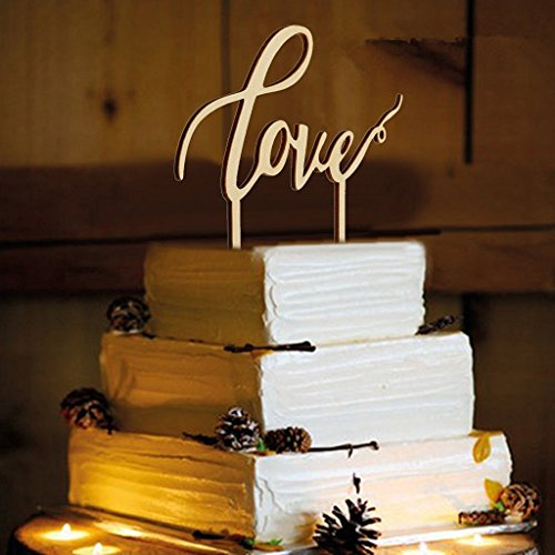 LOVE Wooden Cake Topper Wedding Favours Cake Decoration Vintage