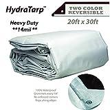 HydraTarp 20ft X 30ft Heavy Duty Waterproof Tarp - 14mil Thick - White/Brown Reversible Tarp