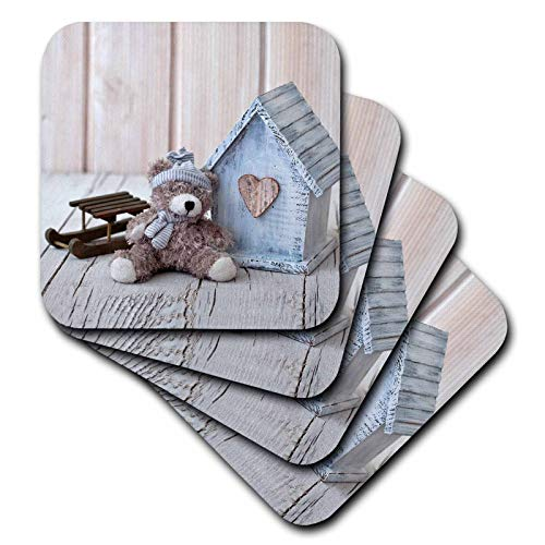 (3dRose Andrea Haase Christmas Photography - Cute Tedde Bear With Little House and Toy Sledge Photography - set of 4 Ceramic Tile Coasters (cst_318596_3))