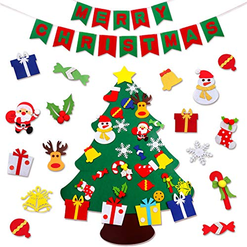 JOKBEN DIY Felt Christmas Tree Set, with Merry Christmas Felt Banner Wall Hanging Christmas Decorations with 29pcs Detachable Ornaments Xmas Gifts for Child