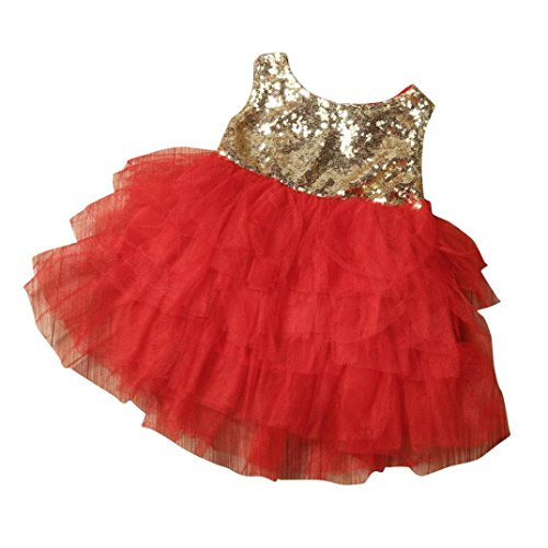 Koolee Baby Girls clothing Kids Sequins Baby Girl Dress Bow Backless Party Gown Bridesmaid Princess Dresses (Girls Red Sequin Shoe Covers)