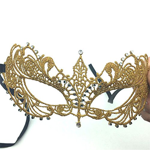 Face mask Shield Veil Guard Screen Domino False Front Sex Gold and Silver Small Pointed Diamonds Lace mask Fifty-Degree Gray Movie Makeup Dance Party Party Performance Supplies Gold by PromMask