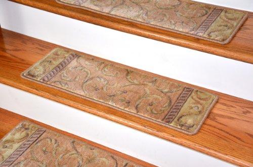 Dean Premium Carpet Stair Treads - Peach Scrollwork (13) by Dean Flooring Company