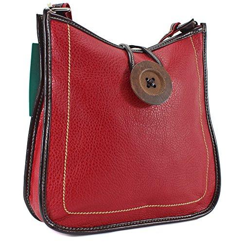 ydezire® Womens ladies botón de piel sintética Cruz Cuerpo Messenger Bag mujeres hombro bolso Satchel Bolso Red