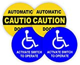 (2-Pair) 5-inch Round CAUTION AUTOMATIC DOOR - ACTIVATE SWITCH TO OPERATE Decals | Weatherproof Vinyl Stickers | Glass Entry Labels Small Business Office Handicap Entrance Exit Compliance