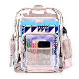 Heavy Duty Clear Backpack Durable Military Nylon Clear Bookbags Transparent Backpack (Medium, Pink)