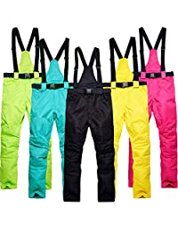 HUAYF Ski Pants Waterproof Warm Suspenders Breathable for Men and Women