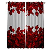 LUSWEET Blackout Curtains 2 Panels for Bedroom Valentines Red Rose Petal Window Treatment Thermal Insulated Solid Grommet Blackout Drapes for Living Room52(W) X 52'(L) X 2