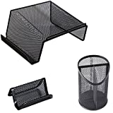 Universal Office Products 20015 Mesh Desktop Telephone Stand, Black, 3-Compartment Pencil Cup and Business Card Holder