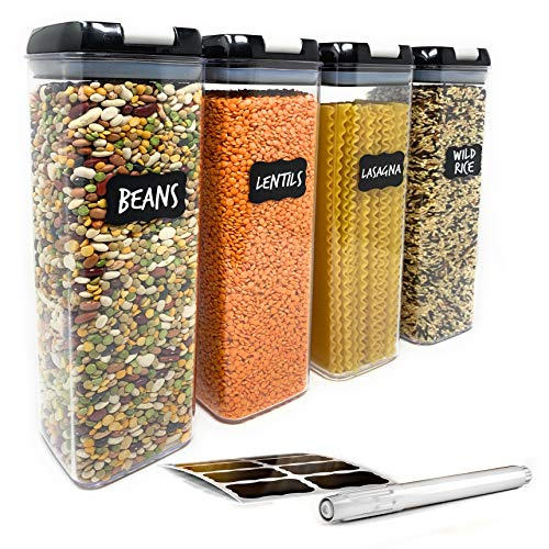 Airtight Food Storage Containers for Pantry Organization – by Simply Gourmet. 4-Piece Tall Pasta or Spaghetti Container Storage. BPA Free Kitchen Storage Containers with FREE Labels & Marker