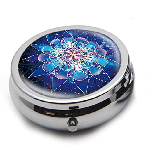 Round Stainless Steel Pill Box Case -Starry Background Blue Mandala- Pocket 2 inches Medicine Tablet Holder Organizer Case for Purse - Compact 3 - Compact Medicine