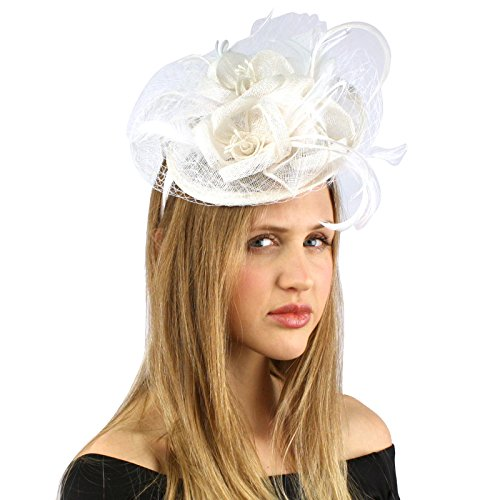 Fancy Sinamay Feathers Trio Floral Net Headband Fascinator Cocktail Hat White ()