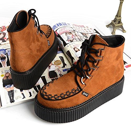 d7b388196a79cb ... RoseG Damen Schnürsenkel Flache Plateauschuhe High Top Creepers Boots  Orange
