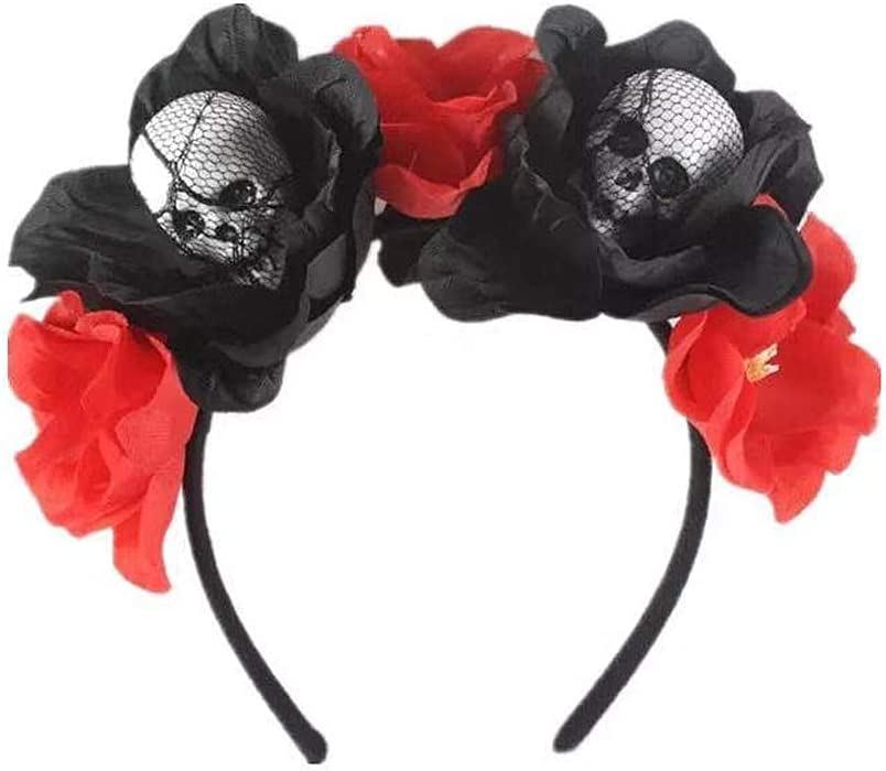Diadema de Halloween,Diadema de Calavera Gótica Vestido de Lujo para Mujer Accesorios para el Cabello de Halloween Rosas Rojas y Negras Oscuras Accesorio de Halloween