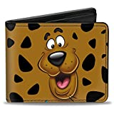 Buckle-Down Men's Wallet Scooby Doo Close-up Expression/spots Brown/black/whit Accessory, -Multi, One Size