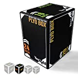 Yes4All 3-in-1 Foam Plyo Jumping Box - High Density PE Foam & PVC Cover (11. Wooden Core - 24/20/16), Black (CAY1)