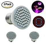2 Package Grow Light Bulb Full Spectrum High Effcient LED Growing Bulbs Freal Indoor Garden Plants Lamp for Hydroponic Aquatic Greenhouse Planting&Flower (3.5W 60LEDs 120 Degree Wide Area Coverage)