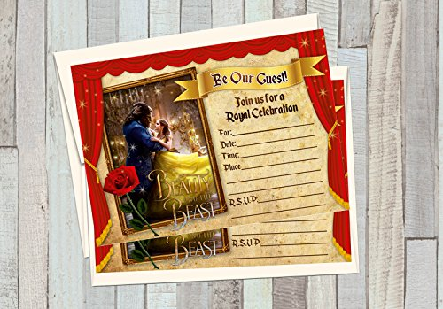 12 Beauty and The Beast The Movie Birthday Invitations (12 5x7in Cards, 12 Matching White envelopes)]()