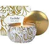 LA JOLIE MUSE Scented Candles Vanilla Coconut Candle Soy Wax, Gold Travel Tin