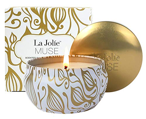 - LA JOLIE MUSE Scented Candles Vanilla Coconut Candle Soy Wax, Gold Travel Tin